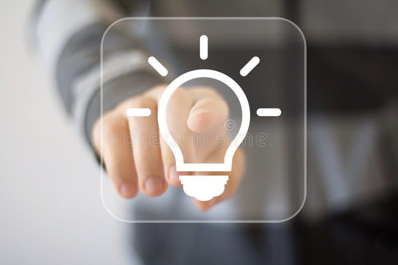 Icône de Web d'affaires d'ampoule d'idée de bouton image libre de droits