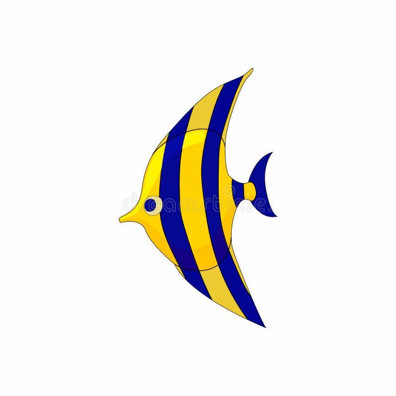 Icône de zanclus de poissons dans le style de bande dessinée illustration de vecteur