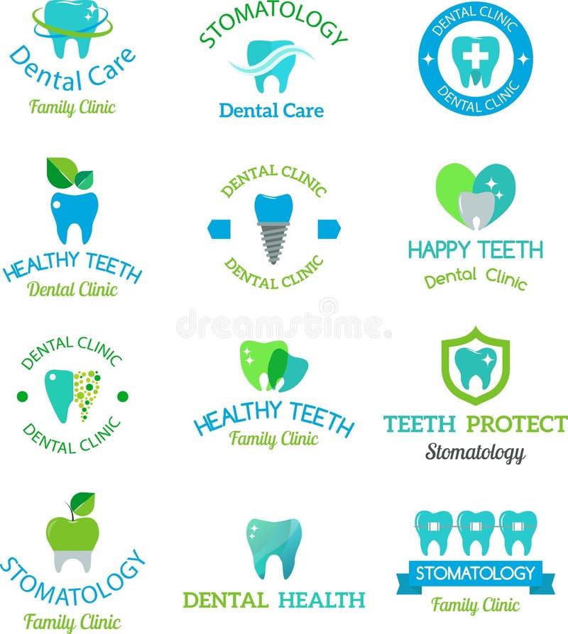Icône dentaire d'insigne de clinique de stomatologie de vecteur illustration de vecteur