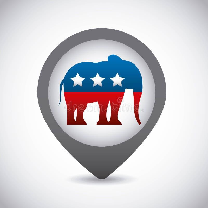 Icône des Etats-Unis d'éléphant de Parti Républicain illustration stock