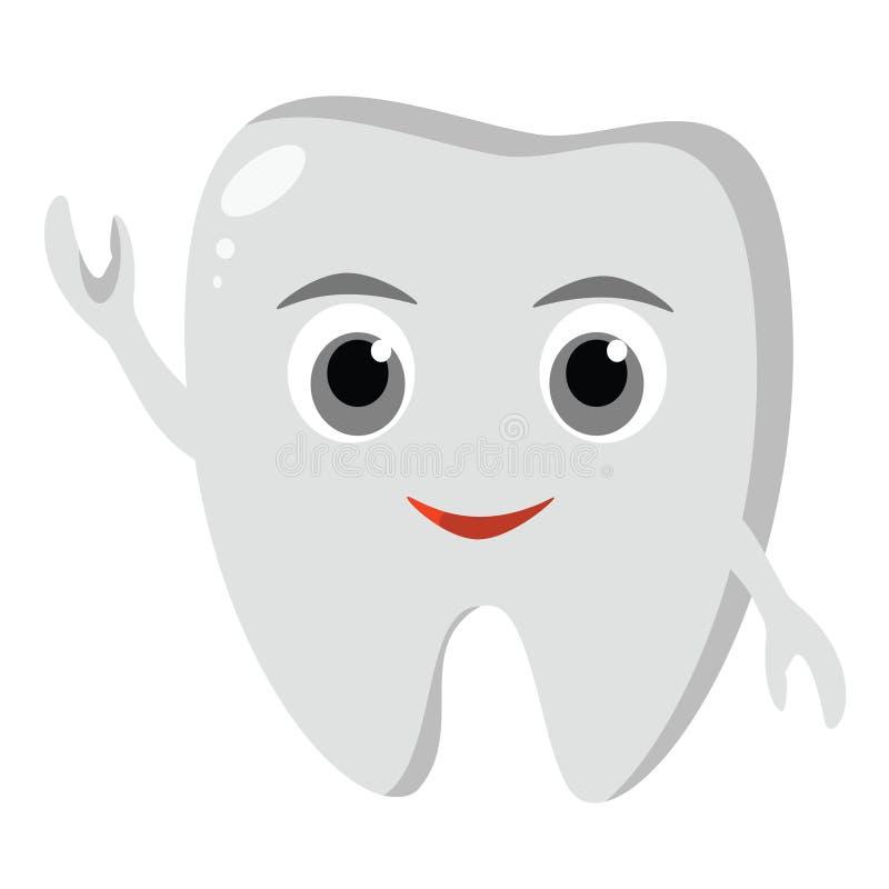 Icône drôle mignonne de dent Hygiène dentaire orale Soin de dents d'enfants Illustration de vecteur illustration stock