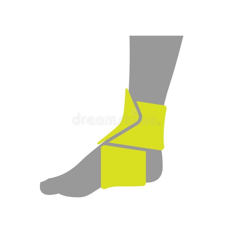 Icône du bandage de compression orthopédique élastique pour illustration stock