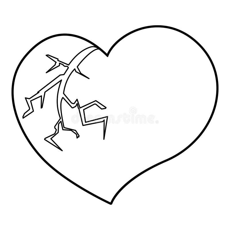 Icône Du Coeur Brisé Style Densemble Illustration De
