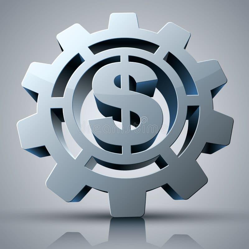 Icône du concept 3d d'argent avec la vitesse et le symbole dollar illustration stock