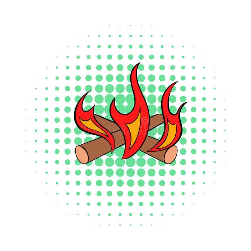 Icône du feu de camp, style de bandes dessinées illustration stock