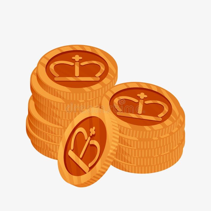 icône du vecteur 3D pour des deux piles de pièces de monnaie en bronze avec la couronne d'or sur le dessus La troisième récompens illustration stock