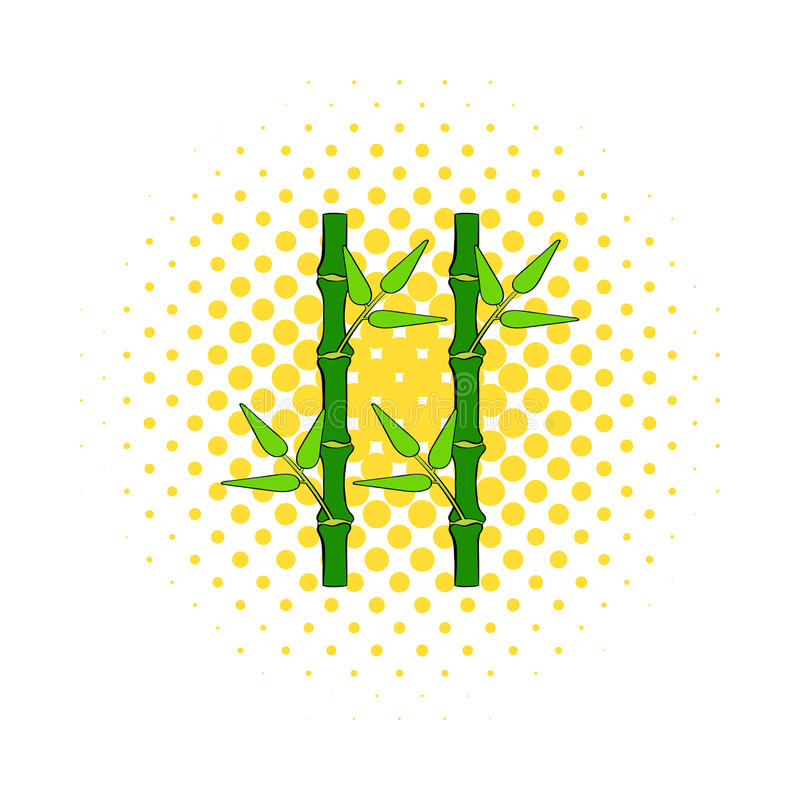 Icône en bambou verte de tige dans le style de bandes dessinées illustration stock