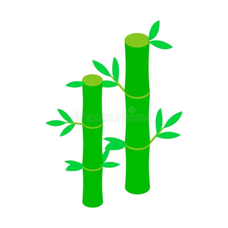 Icône en bambou verte de tige, style 3d isométrique illustration de vecteur
