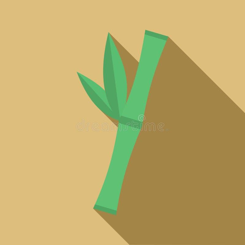 Icône en bambou verte de tige, style plat illustration libre de droits