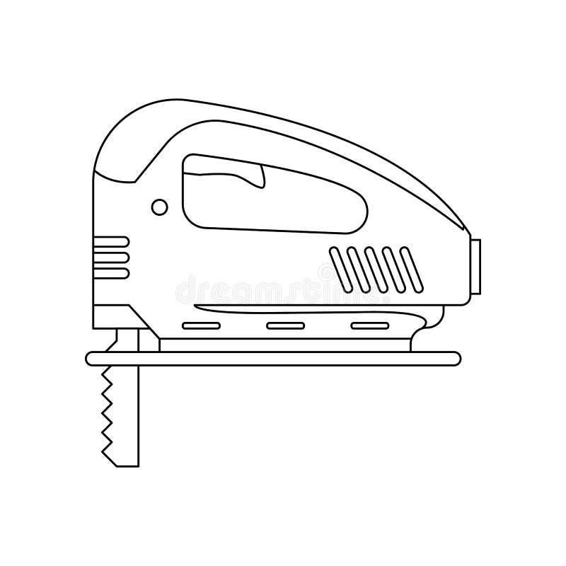 ic?ne en bois Main-sci?e par couleur Élément des outils de construction pour le concept et l'icône mobiles d'applis de Web Contou illustration libre de droits