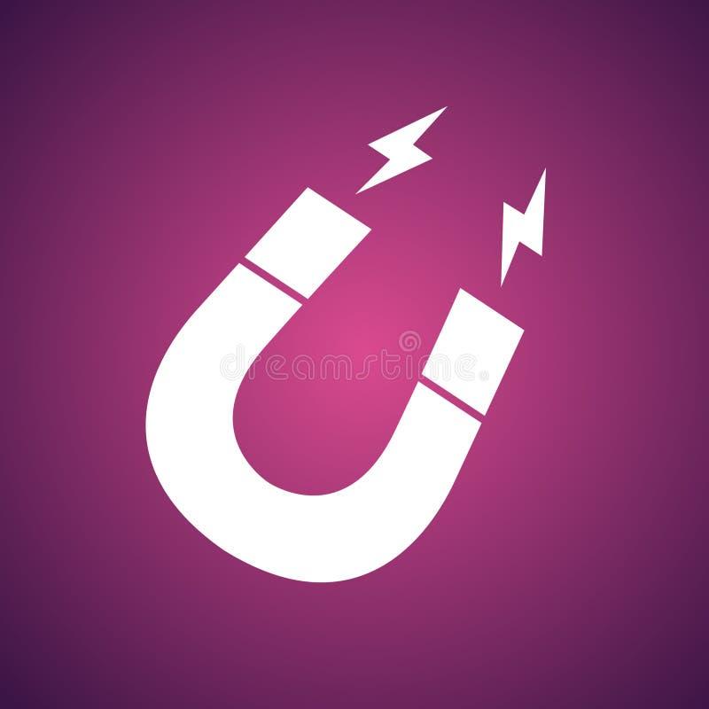 Icône en fer à cheval de vecteur d'aimant sur le fond rose Magnétisme, magn illustration stock