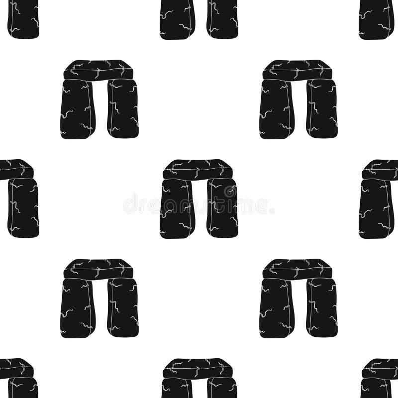 Icône en pierre écossaise de monument dans le style noir d'isolement sur le fond blanc Vecteur d'actions de symbole de pays de l' illustration libre de droits