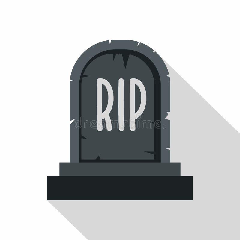 Icône en pierre de déchirure de pierre tombale, style plat illustration stock