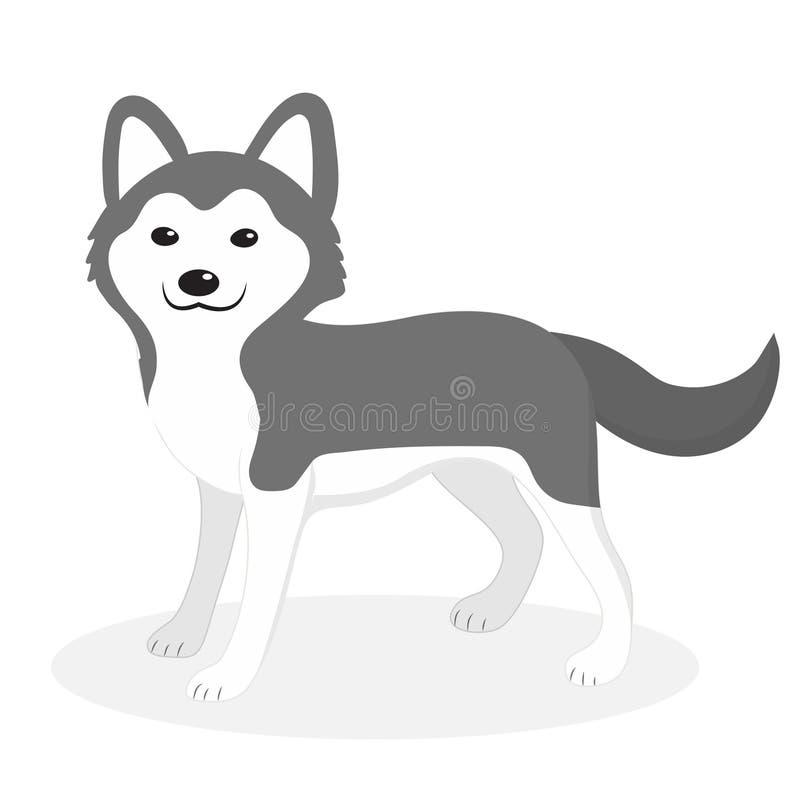 Icône enrouée de chien de race, plate, style de bande dessinée blanc d'isolement mignon de chiot de fond Illustration de vecteur, illustration libre de droits