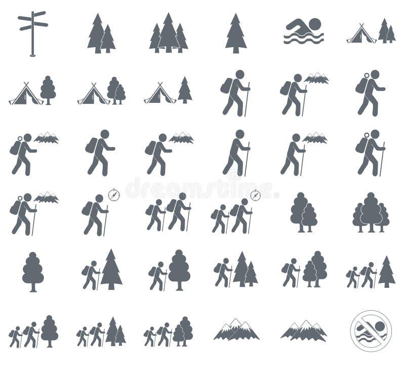 Icône et forêt de touristes de tente illustration de vecteur