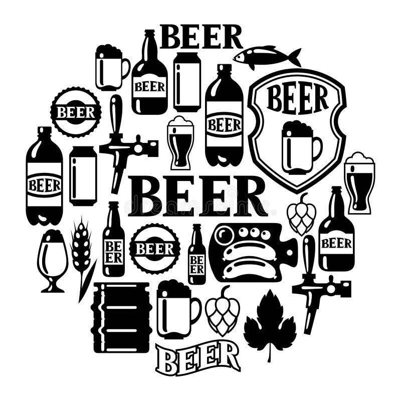 Icône et objets de bière réglés pour la conception illustration libre de droits