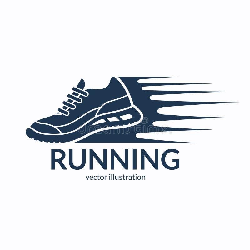 Icône expédiante, symbole ou logo de chaussure de course illustration libre de droits