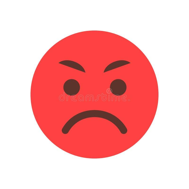 Icône fâchée rouge d'émotion de personnes d'Emoji de visage de bande dessinée illustration libre de droits