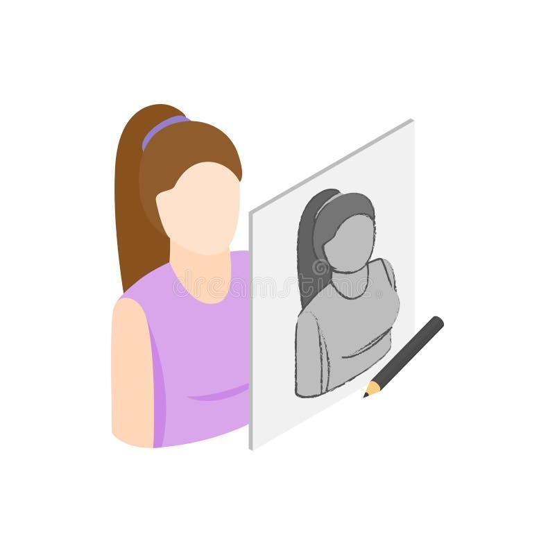 Icône femelle de dessin de portrait, style 3d isométrique illustration stock