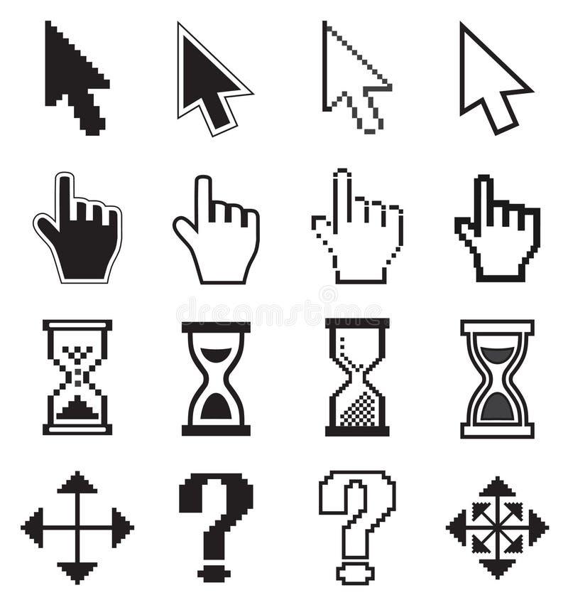Icône-flèche de curseurs de pixel, sablier, souris de main illustration libre de droits