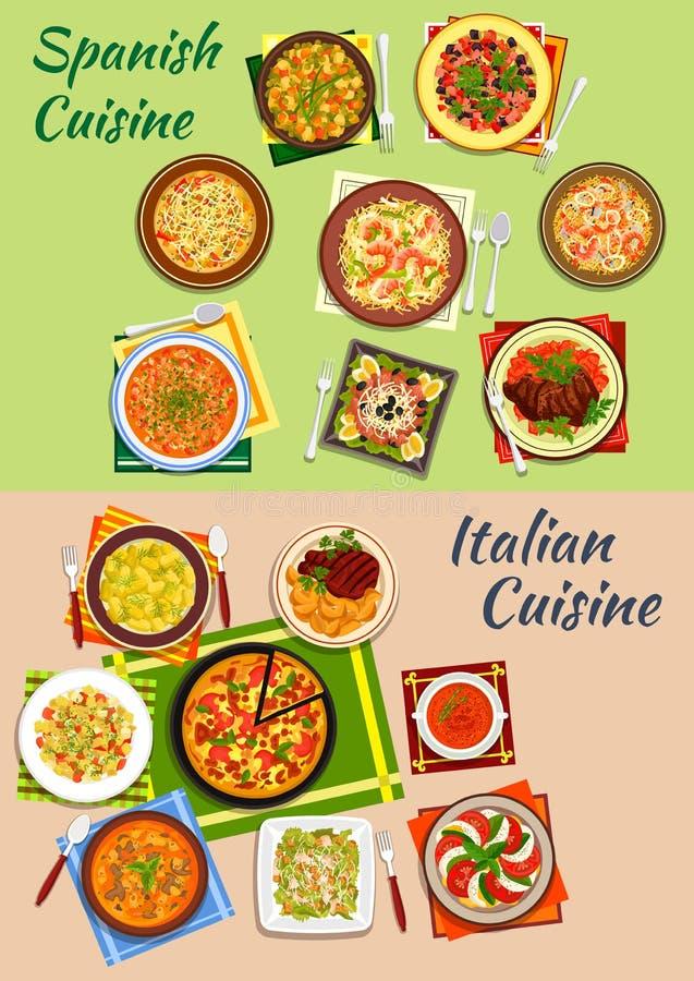 Icône fraîche de dîner de cuisine italienne et espagnole illustration stock
