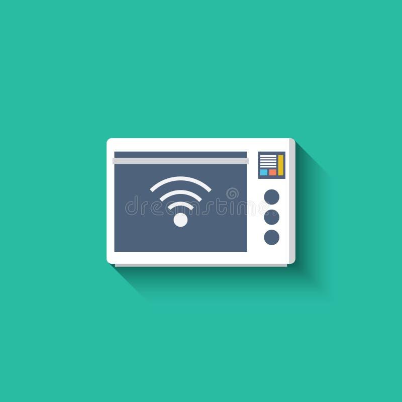 Icône futée de four à micro-ondes Cuisine intelligente illustration stock