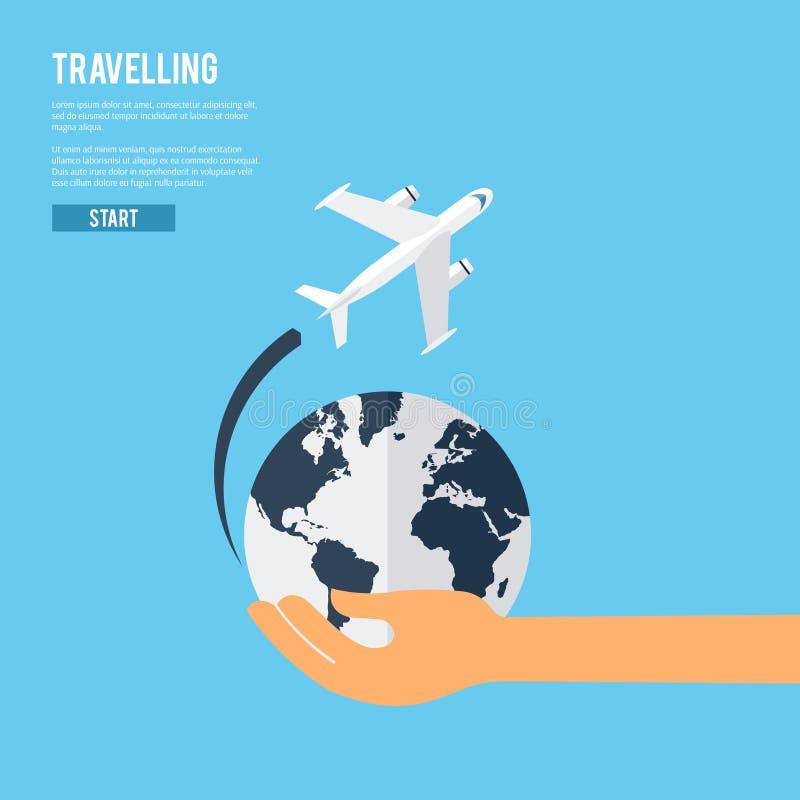 Icône globale de concept de voyage de la terre illustration libre de droits