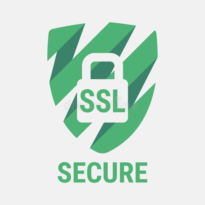 Icône globale de sécurité de SSL Sites Web sûrs et sûrs sur l'Internet Certificat de SSL pour le site Avantage TLS fermé illustration stock