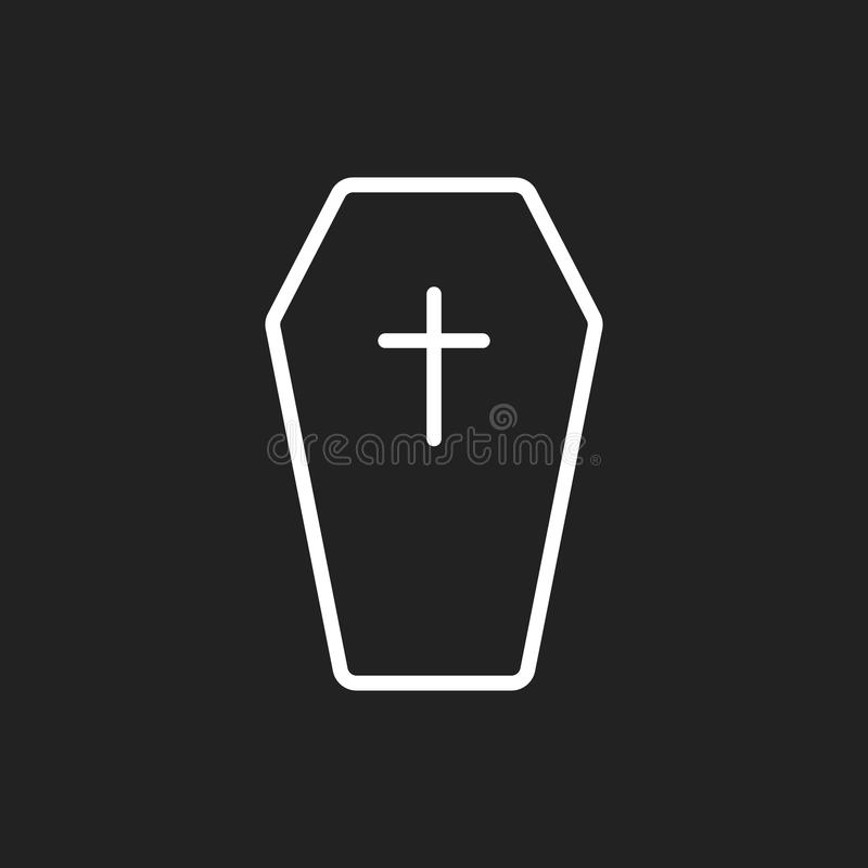 Icône grave de Halloween dans la ligne style Illustration de vecteur de pierre tombale Icône plate de pierre tombale de déchirure illustration de vecteur