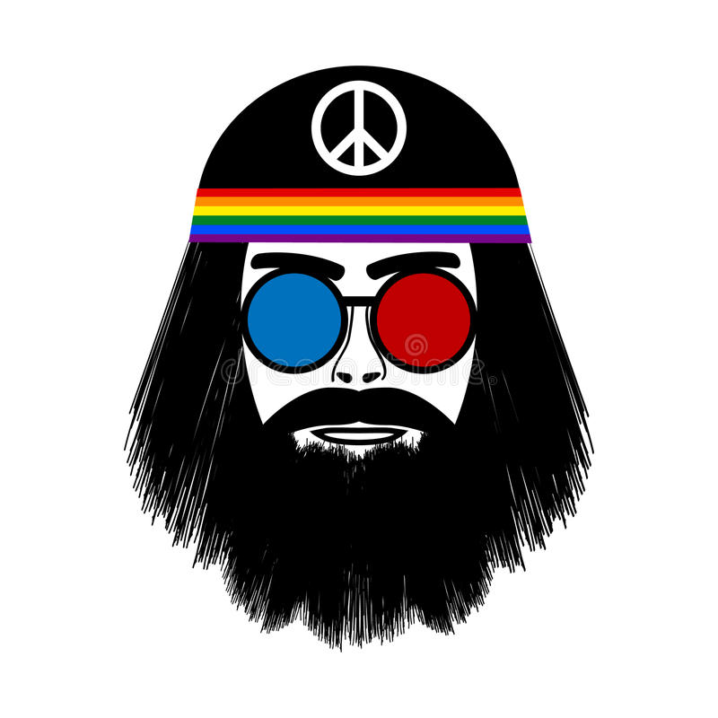 Icône hippie de visage illustration stock