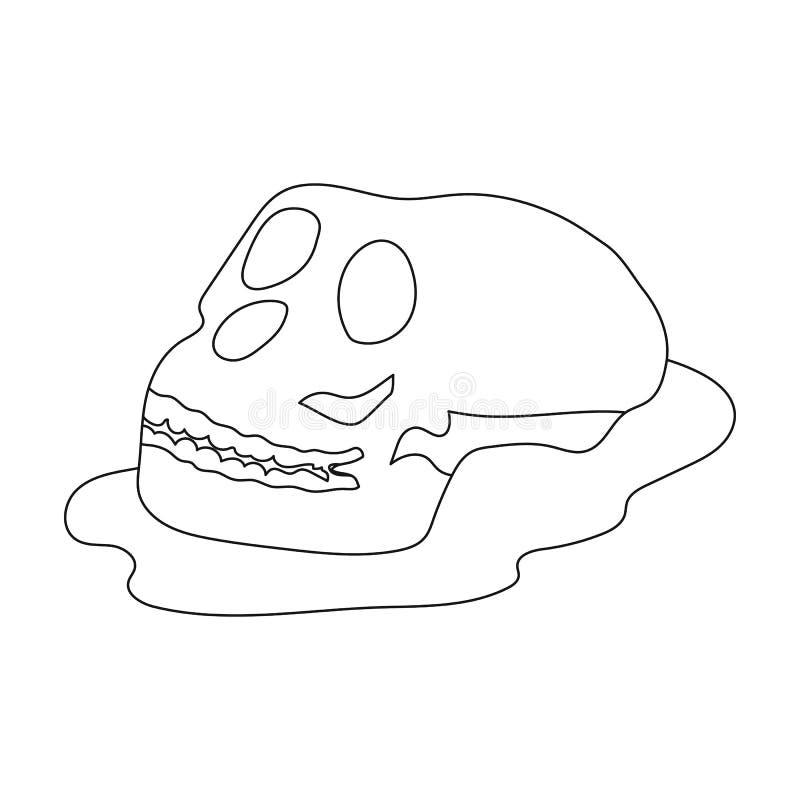 Icône humaine de fossiles dans le style d'ensemble d'isolement sur le fond blanc Dinosaures et symbole préhistorique illustration libre de droits