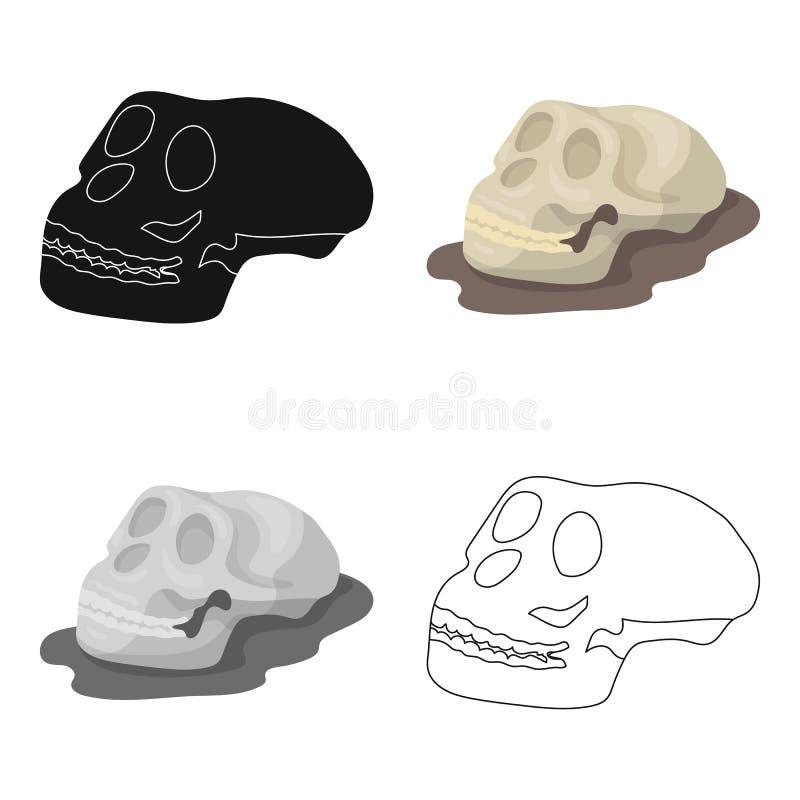 Icône humaine de fossiles dans le style de bande dessinée d'isolement sur le fond blanc Dinosaures et vecteur préhistorique d'act illustration libre de droits