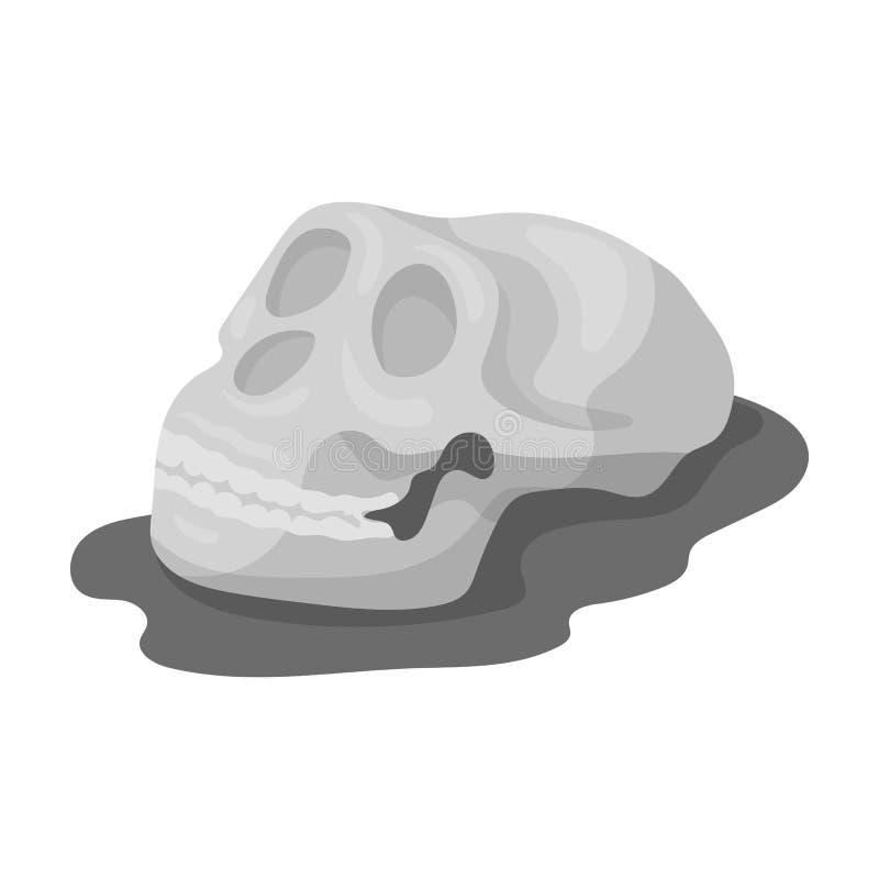 Icône humaine de fossiles dans le style monochrome d'isolement sur le fond blanc Dinosaures et symbole préhistorique illustration stock