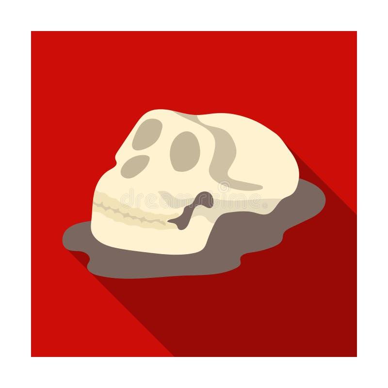 Icône humaine de fossiles dans le style plat d'isolement sur le fond blanc Dinosaures et symbole préhistorique illustration de vecteur