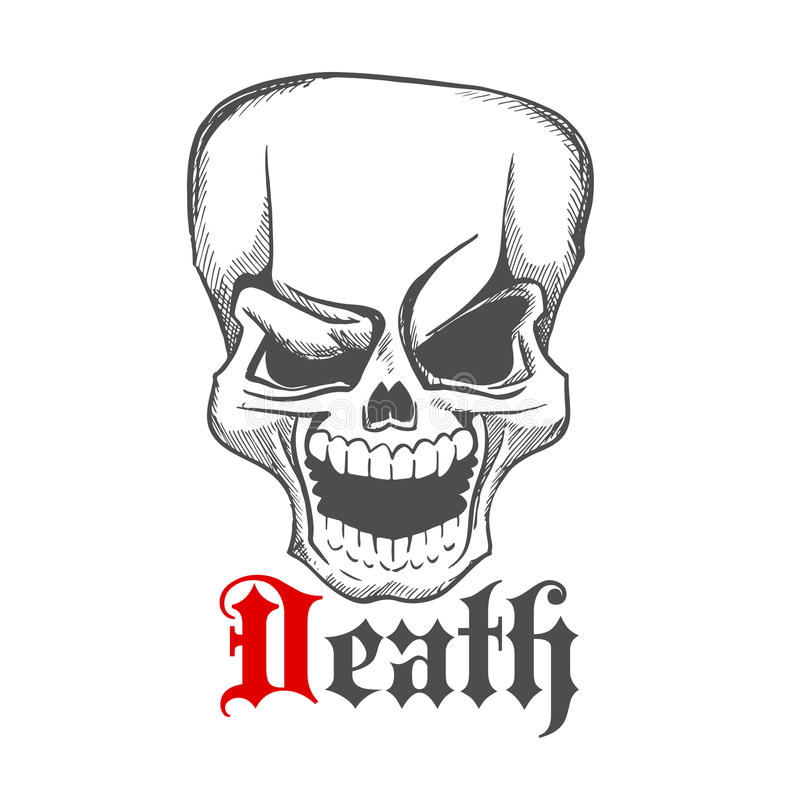Icône humaine riante rampante esquissée de crâne illustration stock