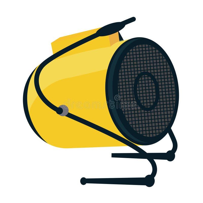 Icône industrielle d'appareil de chauffage de ventilateur électrique Instr d'arme à feu de chaleur de construction illustration de vecteur