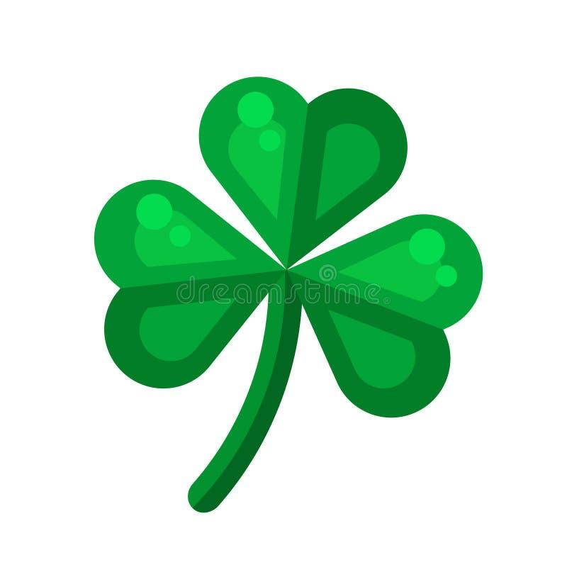 Icône irlandaise d'oxalide petite oseille dans la conception plate de style Symb de trèfle de trois feuilles illustration de vecteur