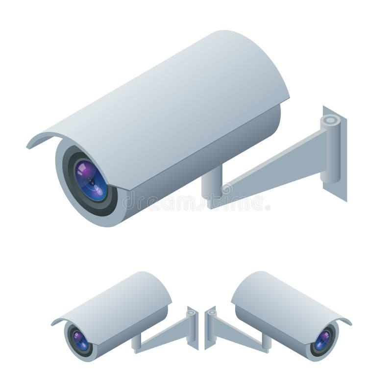 Icône isométrique d'appareil-photo de surveillance et de télévision en circuit fermé de surveillance visuelle Surveillance visuel illustration de vecteur
