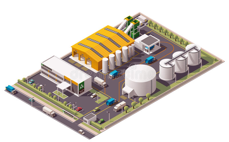 Icône isométrique d'usine de recyclage des déchets de vecteur illustration stock
