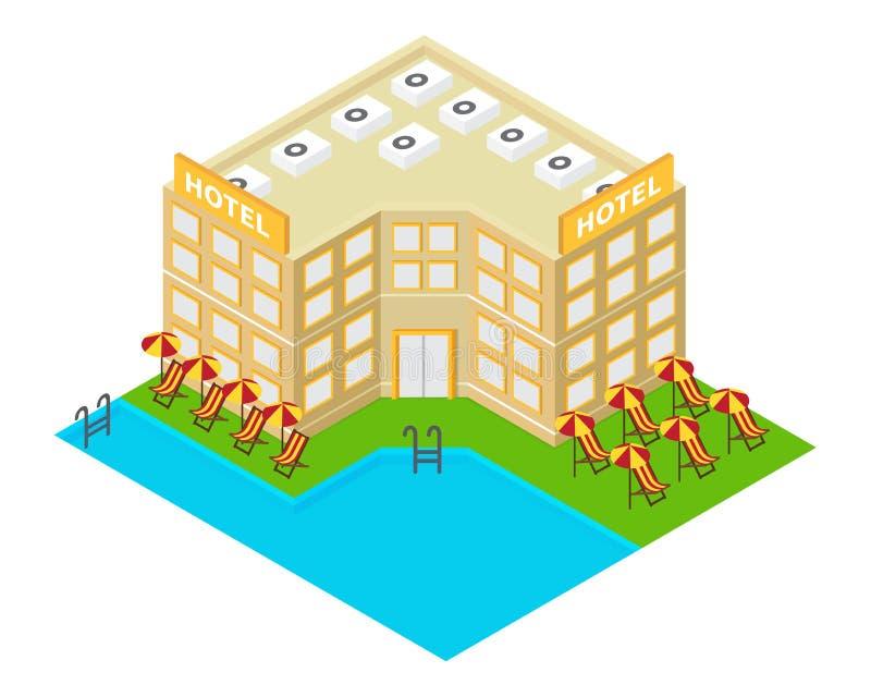 Icône isométrique de bâtiment d'hôtel de vecteur illustration stock