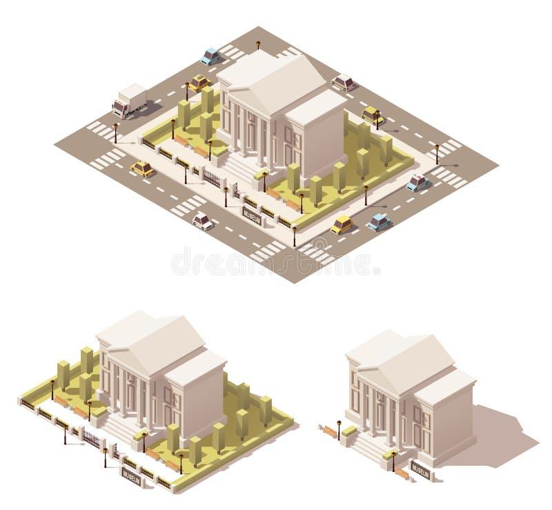 Icône isométrique de bâtiment de musée de vecteur basse poly illustration stock
