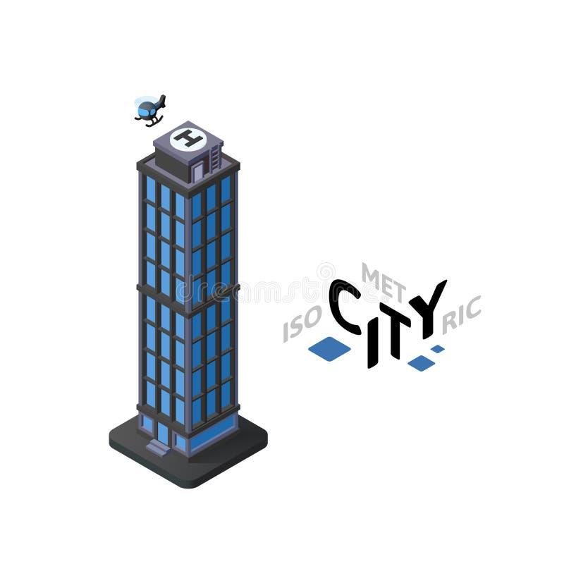 Icône isométrique de gratte-ciel, élément infographic de construction de ville, illustration de vecteur illustration stock