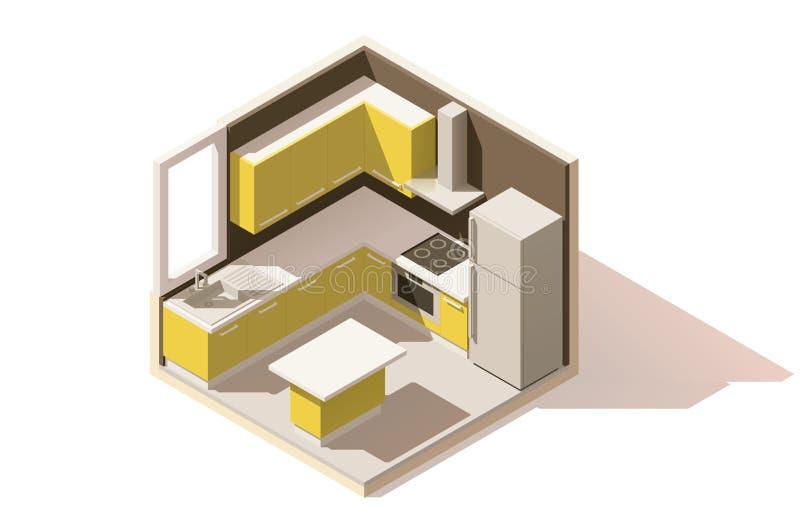 Icône isométrique de pièce de cuisine de vecteur basse poly illustration stock