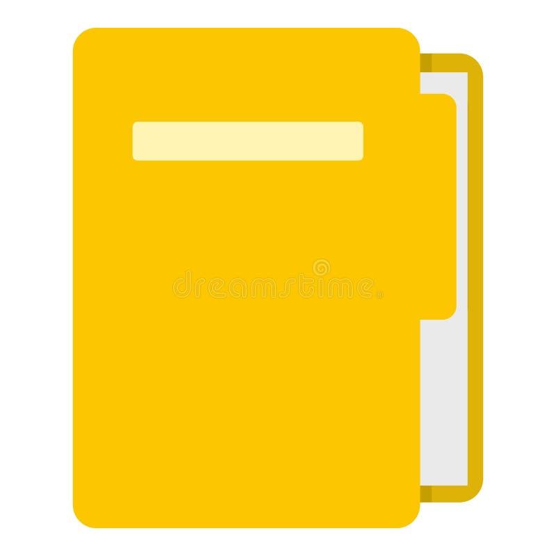 Icône jaune de dossier d'isolement illustration stock