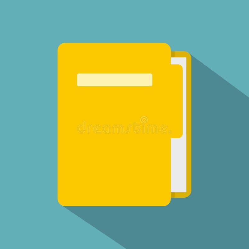 Icône jaune de dossier, style plat illustration de vecteur