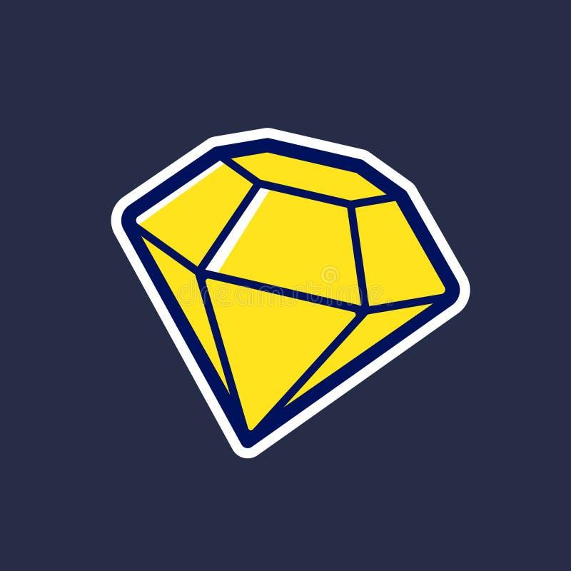 Icône jaune de vecteur de diamant dans le style de bande dessinée illustration stock
