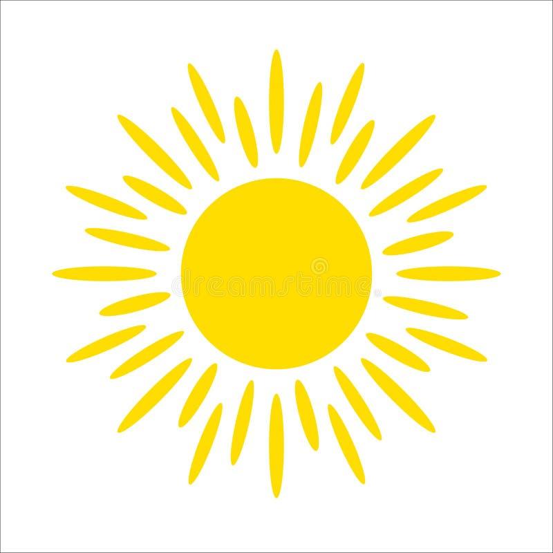 Icône jaune du soleil d'isolement sur le fond blanc Lumière du soleil plate, signe Symbole d'été de vecteur pour la conception de illustration de vecteur