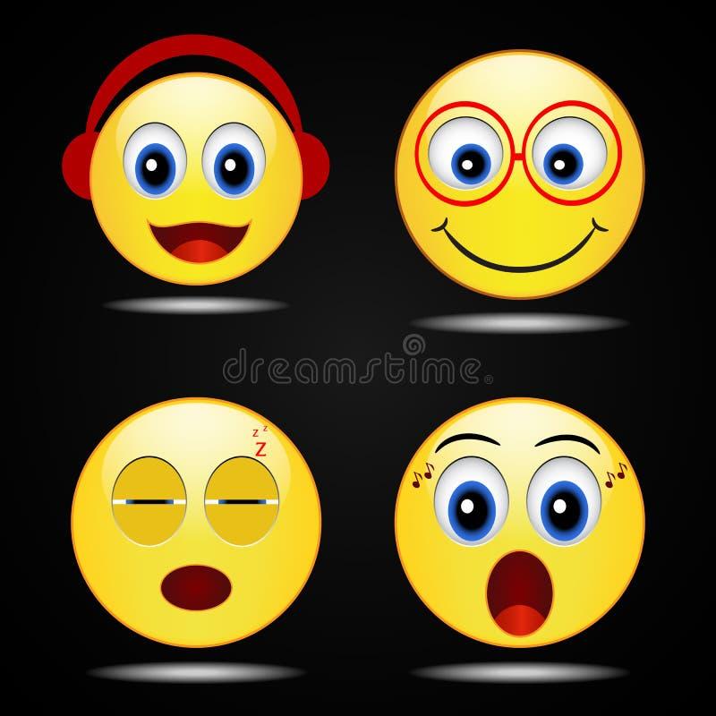 Icône jaune heureuse de sourire de sourire réglé, vecteur illustration libre de droits