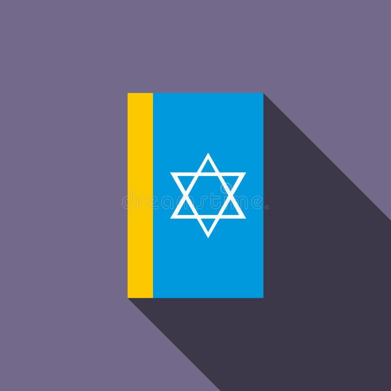 Icône juive de livre sacré, style plat illustration de vecteur