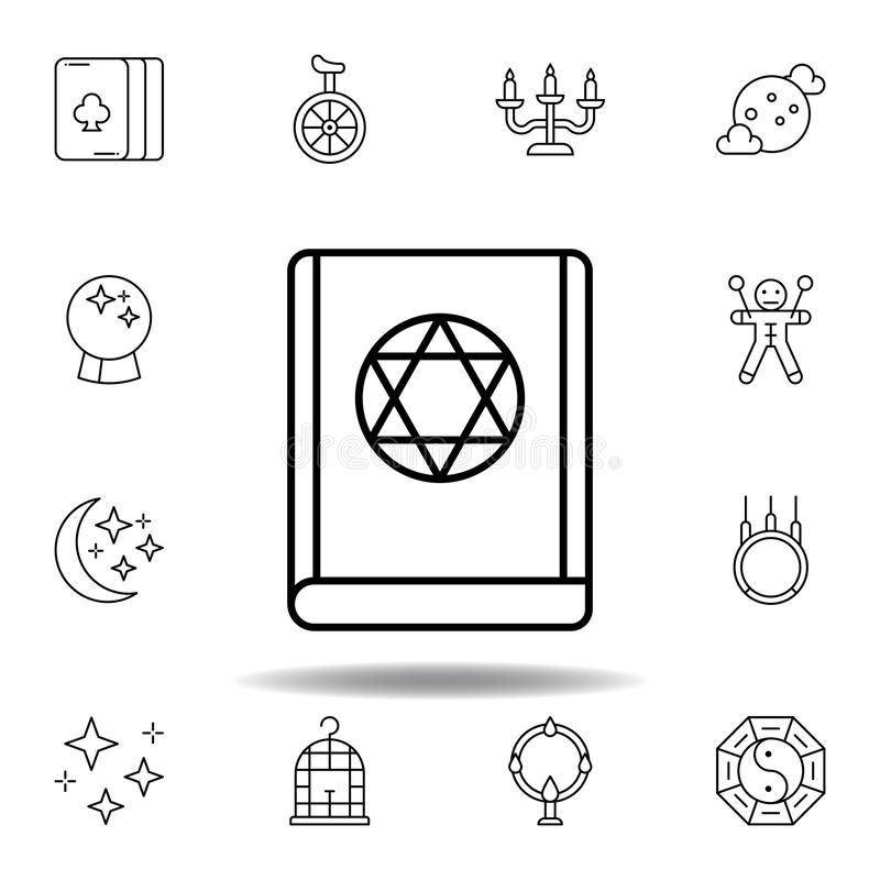 Ic?ne juive magique d'ensemble de livre éléments de ligne magique icône d'illustration des signes, symboles peuvent être employés illustration stock